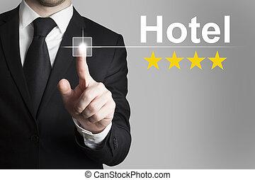 forretningsmand, skubbe, knap, hotel, fire, rating, stjerner