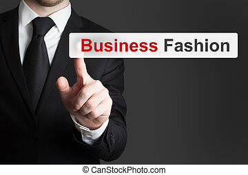 forretningsmand, skubbe, touchscreen, knap, firma, mode