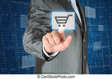 forretningsmand, skubbe, virtuelle, indkøb, knap