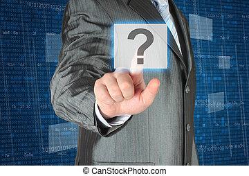 forretningsmand, skubbe, virtuelle, spørgsmål, knap