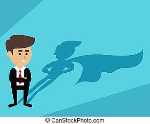 forretningsmand, skygge, superman