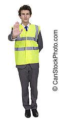 forretningsmand, slide, garanti, jakke, viser, stoppe underskriv