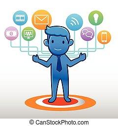 forretningsmand, sociale, ikon, gruppe, element