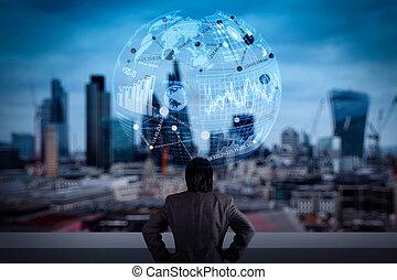 forretningsmand, stænder, med held, på, bygning top, kigge mod, fremtiden, hos, sociale, medier, diagram