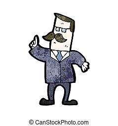 forretningsmand, svare spørgsmål, cartoon