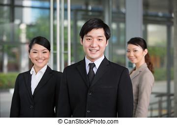 forretningsmand, team., hans, asiat, glade