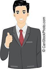 forretningsmand, tommelfingre oppe