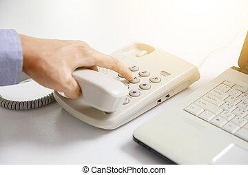 forretningsmand, urskive, digitale, telefon, hos, kontor, baggrund