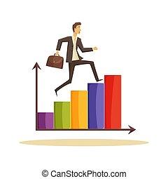 forretningsmand, vektor, ledelse, illustration, tid