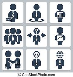 forretningsmand, vektor, sæt, isoleret, iconerne
