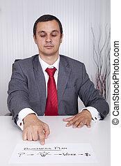 forretningsmand, viser, den, sti, by, held