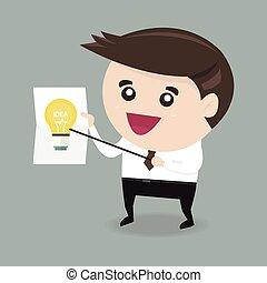 forretningsmand, viser, en, ide