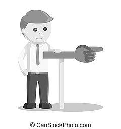 forretningsmand, viser, retning underskriv