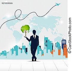 forretningsmand, viser, træ, formet, verden kort, hos, bygning, backgrou