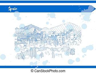 forro, montanha azul, esboço, espanha, vetorial, castelo