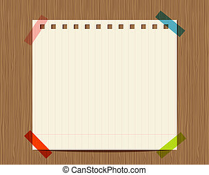 forrou papel, de, caderno, ligado, parede madeira, inserção,...