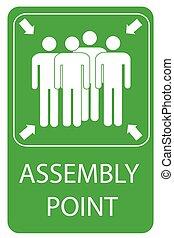 forsamling, tegn, punkt