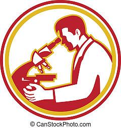 forscher, labor mikroskop, wissenschaftler, retro, chemiker
