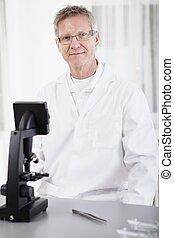 forscher, mikroskop, wissenschaftlich