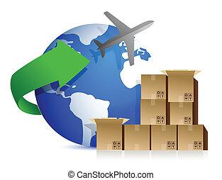 forsendelse, bokse, og, flyvemaskine