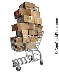 forsendelse, cart, californien., indkøb
