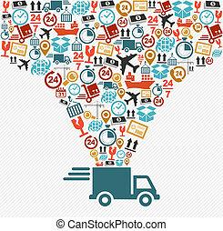 forsendelse, iconerne, sæt, hurtig udlevering, lastbil,...