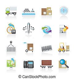 forsendelse, logistik, iconerne