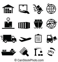 forsendelse, og, logistik, iconerne