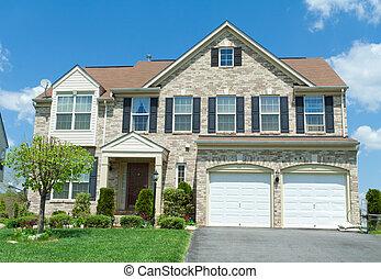 forside, mursten, faced, enlig familie hus, forstads, md.