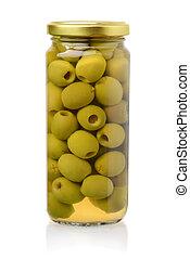forside udsigt, i, canned, grønne olivener