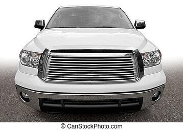 forside udsigt, i, en, stor, navnløse, automobilen
