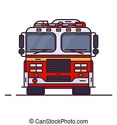 forside udsigt, i, ild motor