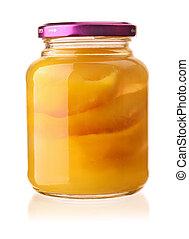 forside udsigt, i, skær, mangoer, ind, naturlig, sirup, krukke
