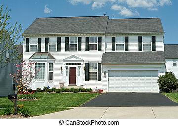 forside udsigt, vinyl, sidespor, enlig familie hus, hjem, forstads, maryl