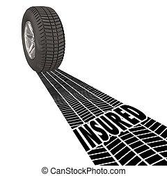 forsikr, dækning, beskyttelse, hjul, dæk tracks