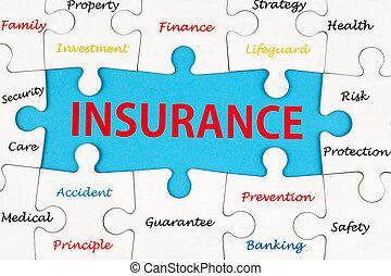 forsikring, begreb, glose, sky