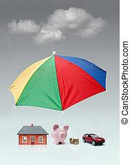 forsikring, beskyttelse, begreb