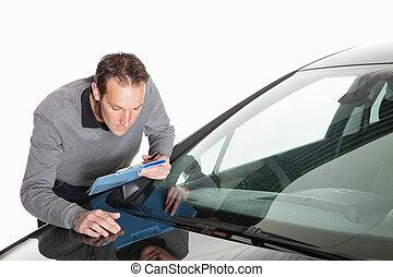 forsikring, claim, kender, arbejde