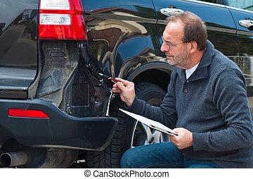 forsikring, claim, på, den, vogn., vogn forsikring