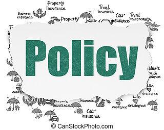 forsikring, concept:, politik, på, rive avis, baggrund