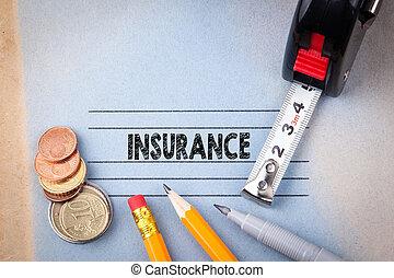 forsikring, concept., sundhed sikkerhed, oplysende, baggrund