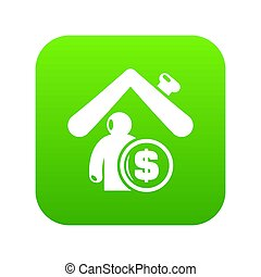 forsikring, hjem, ikon, grønne