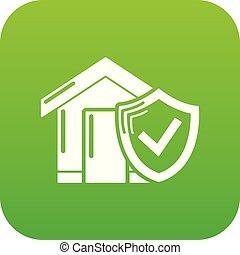 forsikring, hjem, ikon, grønne, vektor
