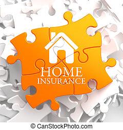 forsikring, -, hjem, ikon, på, appelsin, puzzle.