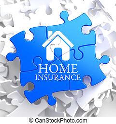 forsikring, -, hjem, ikon, på, blå, puzzle.