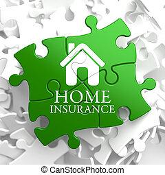forsikring, -, hjem, ikon, på, grønne, puzzle.