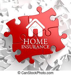 forsikring, -, hjem, ikon, på, rød, puzzle.
