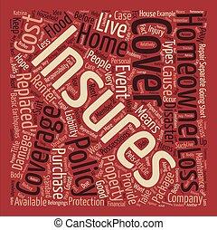 forsikring husejere, glose, sky, begreb, tekst, baggrund