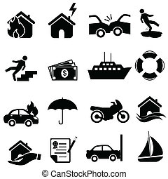 forsikring, ikon, sæt