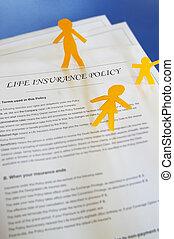 forsikring liv, politik, og, avis, cutout, familie